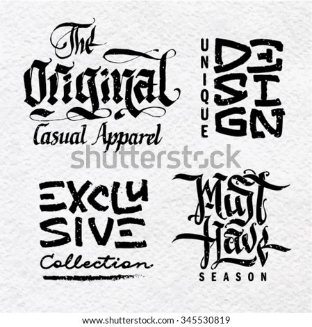 Calligraphy set on the topic fashion - stock vector