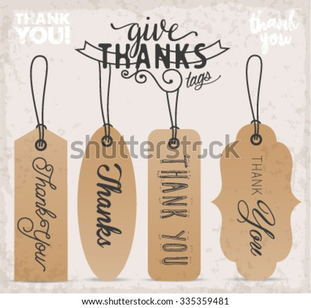 Calligraphy Thank You Tags and Badges in Vintage Style - stock vector