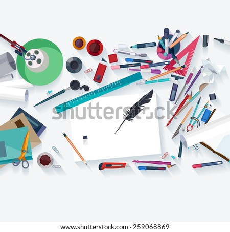 Calligraphy - Workplace concept. Flat design. - stock vector
