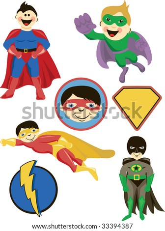 Calling all superheroes! Come by and save the day with these super graphics! Nine illustrations included. Shield is great for personalization. - stock vector