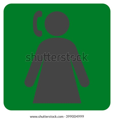 Calling Woman vector symbol. Image style is bicolor flat calling woman icon symbol drawn on a rounded square with green and gray colors.
