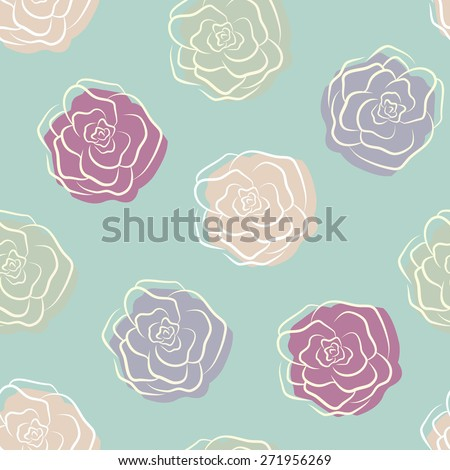 Calm retro pastel light blue seamless pattern with violet, blue, purple and beige outline roses - stock vector