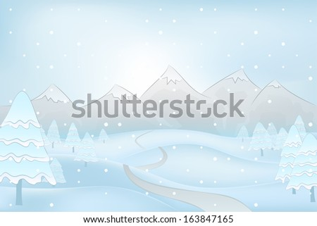 calm winter mountain outdoors with snowy trees at snowfall vector illustration
