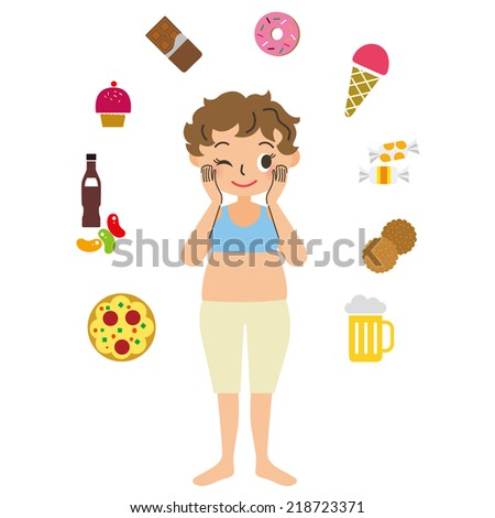 Calorie food and the woman who diet - stock vector