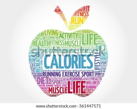 CALORIES apple word cloud, health concept - stock vector