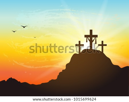 Calvary Hill Silhouettes Cross Cross Symbol Stock Vector Royalty