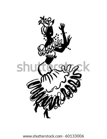 Calypso Dancer - Retro Clip Art - stock vector