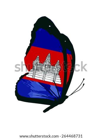 Cambodia flag butterfly - vector - stock vector
