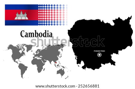 Cambodia info graphic with flag , location in world map, Map and the capital ,Phnom Penh, location.(EPS10 Separate part by part) - stock vector