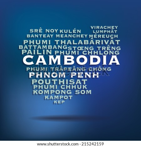 Cambodia map made with name of cities - vector illustration - stock vector
