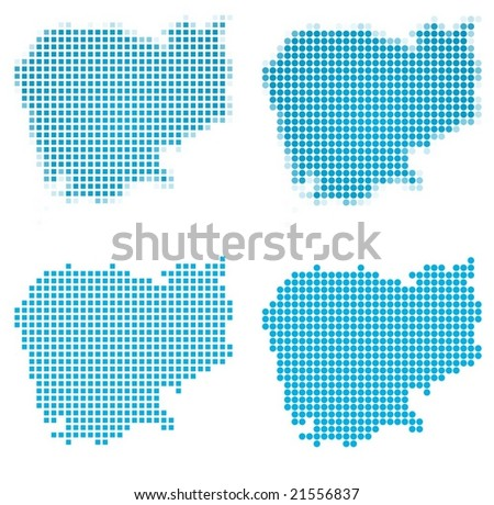 Cambodia map mosaic set. Isolated on white background. - stock vector