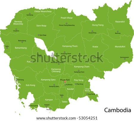 Cambodia map with provinces and capital cities
