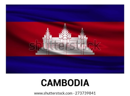 Cambodia Waving flag isolated vector in official colors and Proportion Correctly. waving wind Flag realistic fabric effect. country's name label in bottom - stock vector