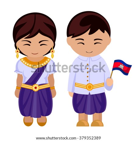 Cambodians in national dress with a flag. A man and a woman in traditional costume. Travel to Cambodia. People. - stock vector