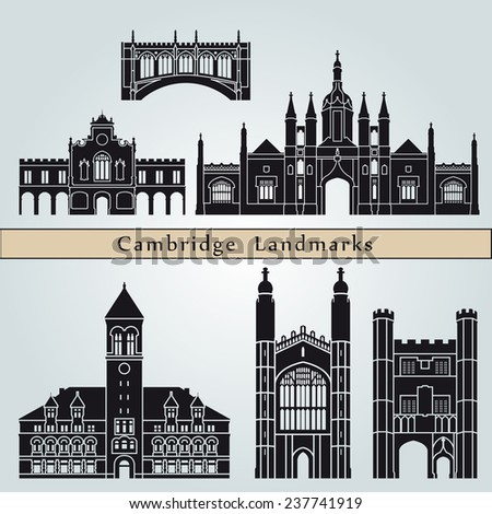 Cambridge landmarks and monuments isolated on blue background in editable vector file - stock vector