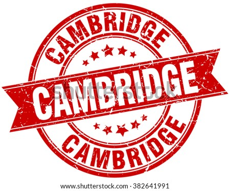 Cambridge red round grunge vintage ribbon stamp