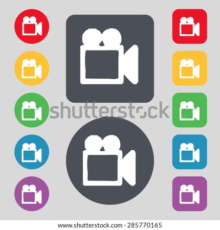 camcorder icon sign. A set of 12 colored buttons. Flat design. Vector illustration - stock vector