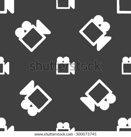 camcorder icon sign. Seamless pattern on a gray background. Vector illustration - stock vector