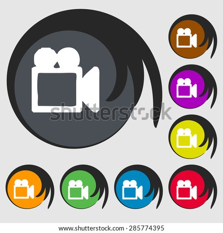 camcorder icon sign. Symbol on eight colored buttons. Vector illustration - stock vector