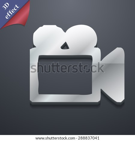 camcorder icon symbol. 3D style. Trendy, modern design with space for your text Vector illustration - stock vector