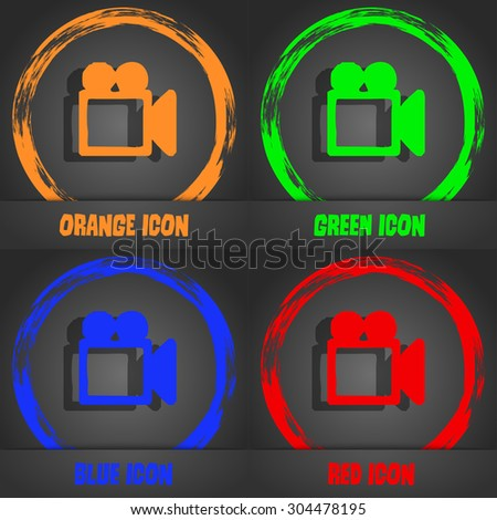camcorder icon symbol. Fashionable modern style. In the orange, green, blue, green design. Vector illustration - stock vector
