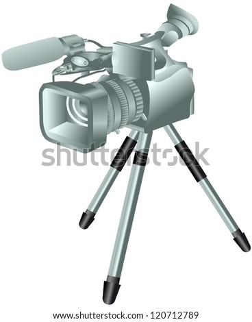 camcorder on a tripod - stock vector