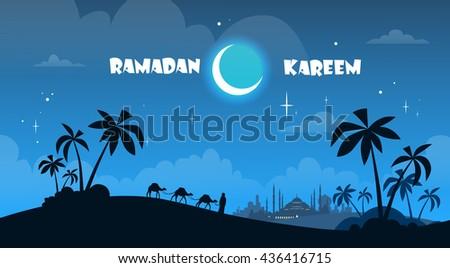 Camel Desert Pyramid Ramadan Kareem Muslim Religion Holy Month Flat Vector Illustration - stock vector