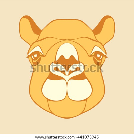 Camel. Head of a camel. Camel's head. Head of the animal with a detailed drawing of parts of the face. Camel head yellow, brown, white color. Camel looking directly at you. Cartoon animal vector logo. - stock vector