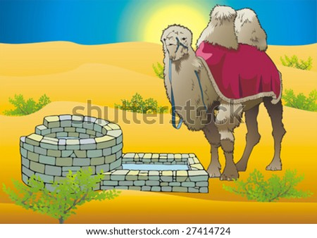 Camel in desert near by pit. - stock vector