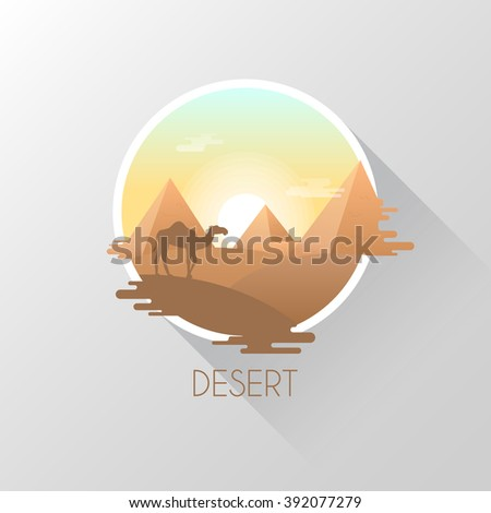 Camel in the desert. Flat style. Vector illustration. - stock vector
