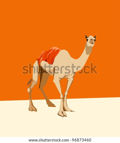 camel on an orange background whit cover on the back - stock vector