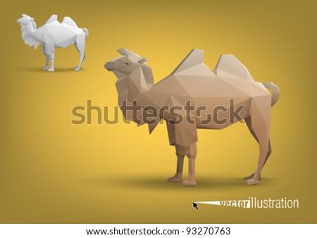 Camel stylized triangle polygonal model, vector eps10 - stock vector