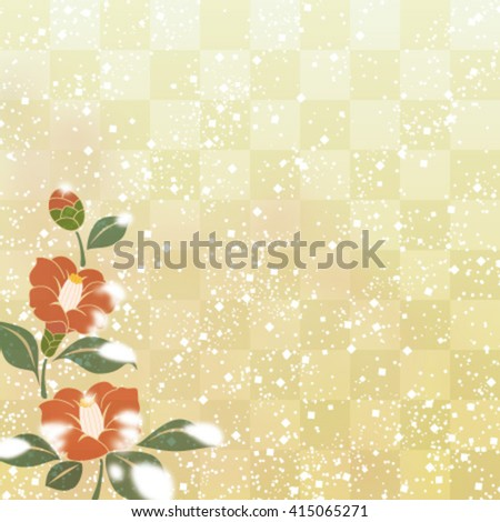 Camellia flowers on Japanese traditional background - stock vector