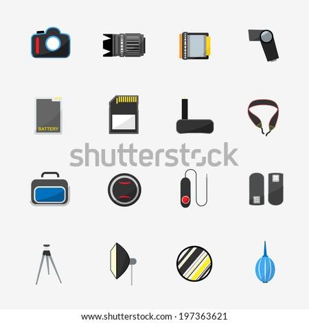 Camera accessory color icons. - stock vector