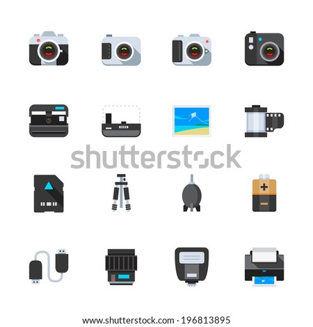 Camera and Camera Accessories Icons : Flat Icon Set for Web and Mobile Application - stock vector