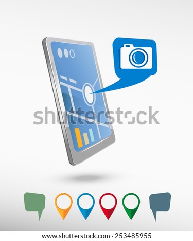 Camera and perspective smartphone vector realistic. Set of bright map pointers for printing, website, presentation element and application mockup. - stock vector