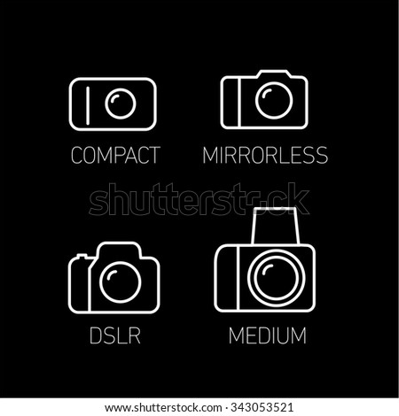 camera and photography systems from compact to mirrorless, dslr and medium format vector linear icon and infographic | illustrations of gear and equipment for photographers  white on black background - stock vector