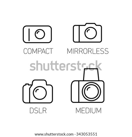 camera and photography systems from compact to mirrorless, dslr and medium format vector linear icon and infographic | illustrations of gear and equipment for photographers  black on white background - stock vector