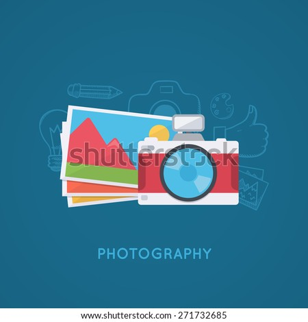 Camera and pictures. Photo shooting background. Modern flat design template.  - stock vector