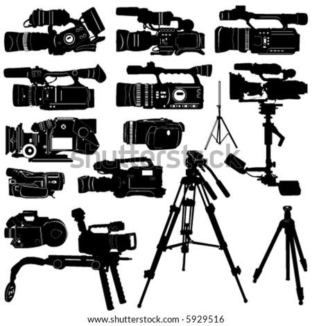 camera and tripod vector - stock vector