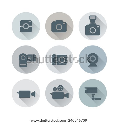 Camera and Video Camera Icons Design with Long Shadow