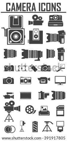 camera and Video icons set ,Illustration eps 10, Big pack - stock vector