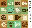 Camera and Video retro icons set, Illustration eps10 - stock photo