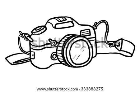 camera / cartoon vector and illustration, black and white, hand drawn, sketch style, isolated on white background.
