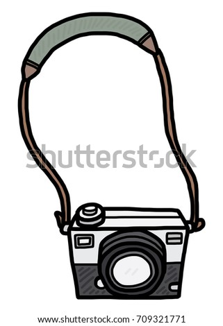 Camera Cartoon Vector And Illustration Hand Drawn Style Isolated On White Background