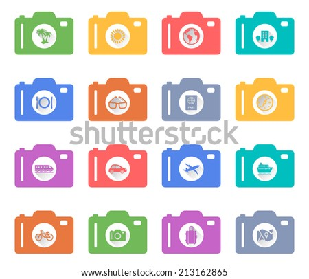 Camera concept of retro flat Vacation and Travel Icons with a long shadow - stock vector
