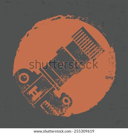 Camera design on grunge background, grunge vector - stock vector