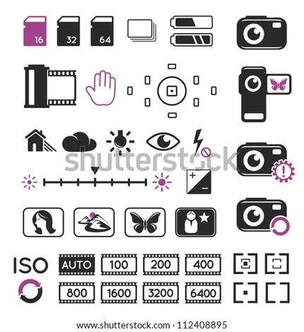 Camera display icons and screen symbols - stock vector