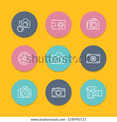 camera, dslr, aperture round linear icons set, vector illustration - stock vector