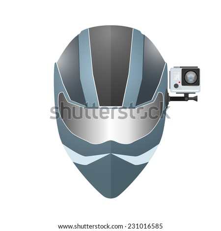 Camera DVR mount on helmet - stock vector